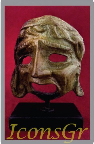 Ancient Greek Bronze Museum Statue Replica of Theatrical Mask of Tragedy (1441)