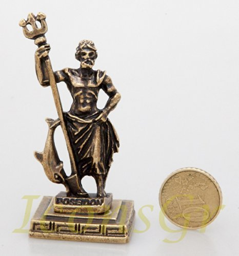 Ancient Greek Zamac Miniature Statue of Poseidon (Gold) [Kitchen]