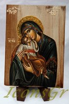 Wooden Greek Christian Orthodox Wood Icon of Mother of Jesus / A2_1 [Kit... - $26.56