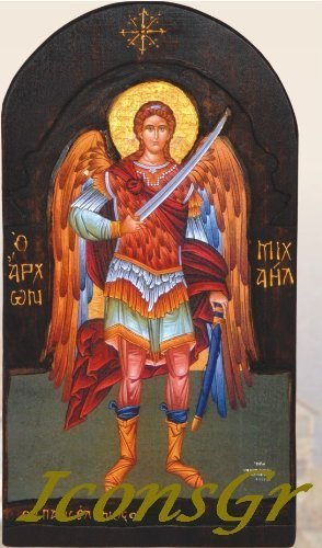 Wooden Greek Christian Orthodox Wood Icon of Archangel Michael / S3 [Kitchen]