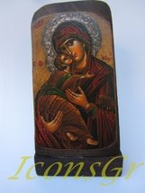 Wooden Greek Christian Orthodox Wood Icon of Mother of Jesus / Mp5_3 - $12.25
