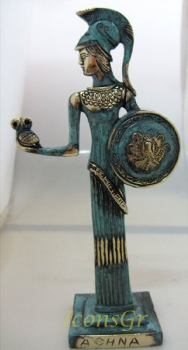 Ancient Greek Bronze Museum Statue Replica of Athena with Owl and Shield (102)
