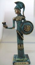 Ancient Greek Bronze Museum Statue Replica of Athena with Owl and Shield... - $120.74
