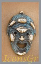 Ancient Greek Bronze Museum Statue Replica of Theatrical Mask of Tragedy... - $30.67