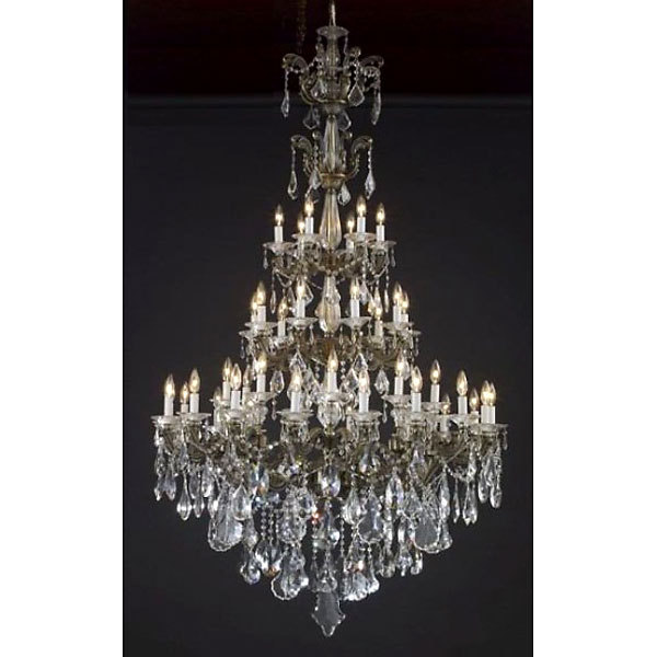 Magnificent Bronze & Crystal Large Chandelier.48''D x 74''H.