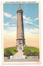 MA Duxbury Myles Standish Monument Vtg Linen Postcard Massachusetts - $4.99