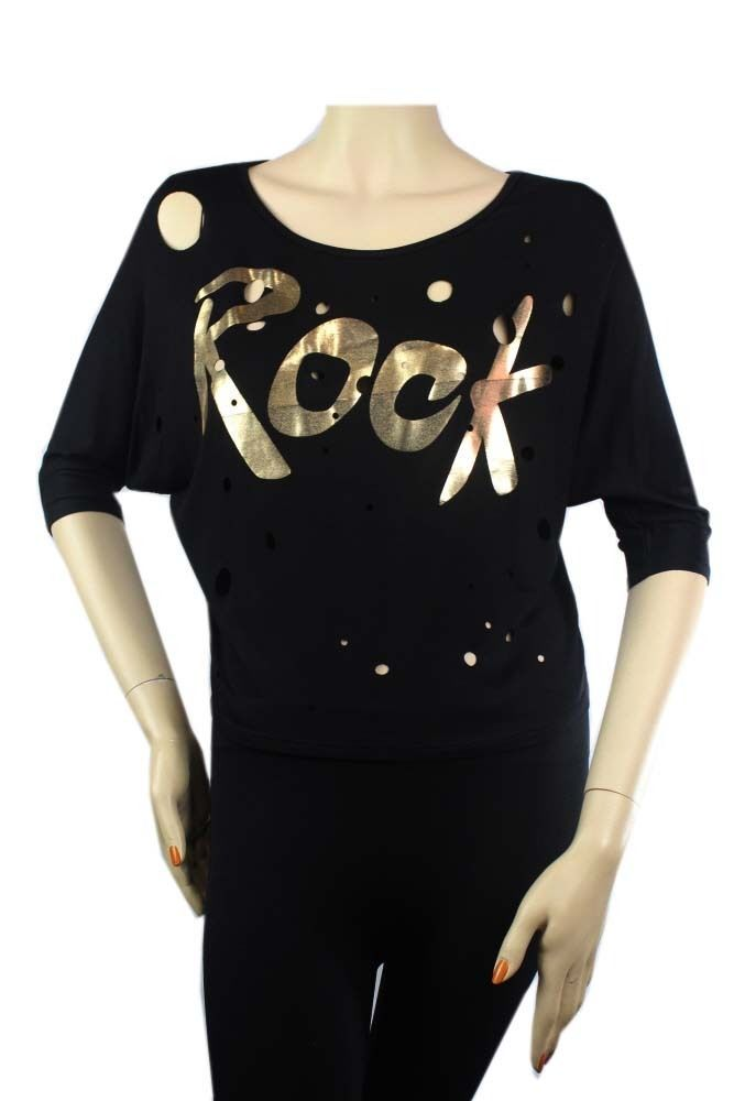 Boat Neck Rock Print 3/4 Sleeve DolmanT-Shirts w/ Hole JUNIOR Stretch Top SML