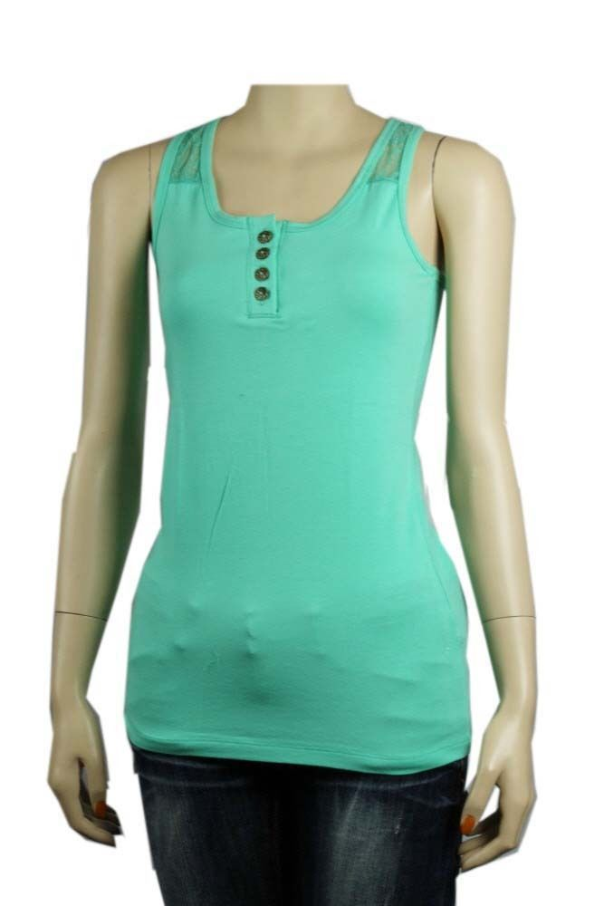 Basic Lace X-Back Sleeve less TANK TOP w/ Button Stretchy Casual Solid Top SML