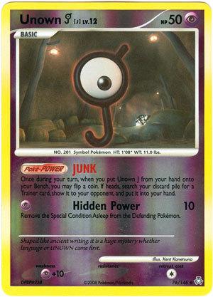 Unown J 76/146 Reverse Holo Uncommon Legends Awakened Pokemon Card