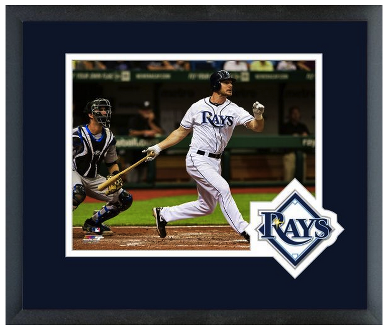 John Jaso 2011 Tampa Bay Rays - 11 x 14 Team Logo Matted/Framed Photo