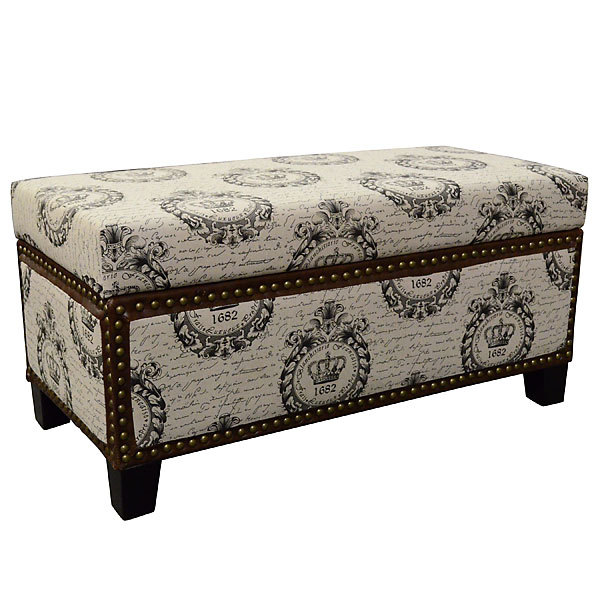 French Country Crown Storage Bench/Ottoman,35'' x 18'' x 37''h.