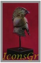 Ancient Greek Bronze Museum Replica of Spartan Hoplite Helmet on a Base (1383-1) - $44.88