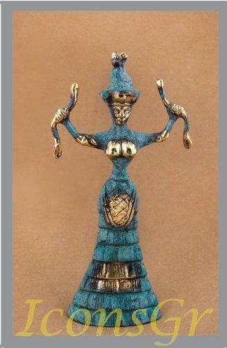 Ancient Greek Bronze Museum Statue Replica of Snake Goddess (249) [Kitchen]