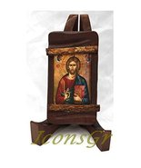 Wooden Greek Christian Orthodox Wood Icon of Jesus Christ / Mp3_3 [Kitchen] - $13.23