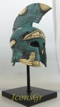 Ancient Greek Bronze Replica of Athenian Helmet Bearing an Owl on a Base... - $42.04