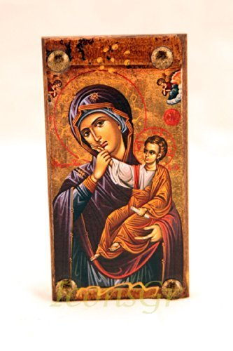 Wooden Greek Christian Orthodox Wood Icon of Mother of Jesus & Jesus /Mp6