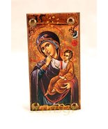 Wooden Greek Christian Orthodox Wood Icon of Mother of Jesus & Jesus /Mp6 - $9.70