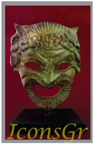 Ancient Greek Bronze Museum Statue Replica of Theatrical Mask of Comedy (1420)