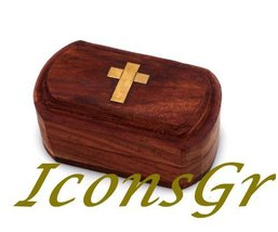 Handmade Christian Orthodox Wooden Wood Storage Box with Decorative Cros... - $19.11