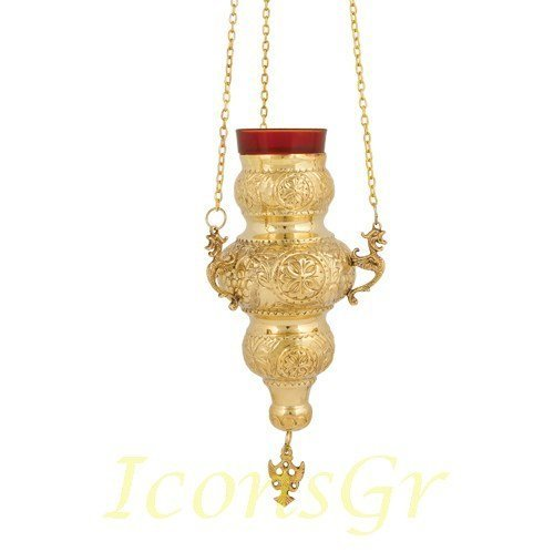 Greek Christian Orthodox Bronze Oil Lamp with Chain - 409b [Kitchen]
