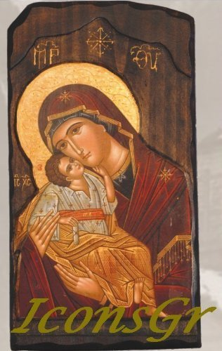 Wooden Greek Christian Orthodox Wood Icon of Mother of Jesus & Jesus Christ / G3