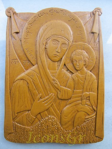 Handmade Carved Aromatic Wax Icon Blessed From Mount Athos of Virgin Mary 37