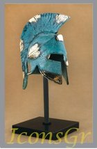 Ancient Greek Bronze Museum Replica of Spartan Officer Helmet on a Base ... - $227.46