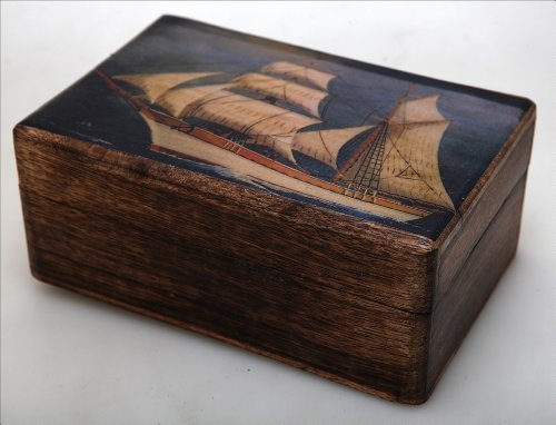 Handmade Greek Wooden Wood Box with Greek Commercial Ship / R32 [Kitchen]