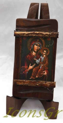 Wooden Greek Christian Orthodox Wood Icon of Mother of Jesus / Mp3_1