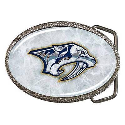 Nashville Predators Chrome Finished Belt Buckle - NHL Hockey