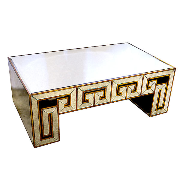 Art Deco Style Mirror Glass Coffee Table,49.5'' l  x 18''tall.