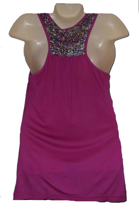 Womens Top Size S Buffalo by David Bitton Pink Sequin Racerback Tank Knit New