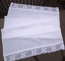 """Vintage Table Runner / White Textured Cotton -Crocheted Lace Trim 21""""x48"""" #5055 - $12.99"""