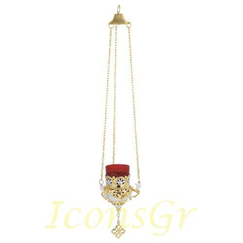 Greek Christian Orthodox Bronze Oil Lamp with Chain- 9503gn [Kitchen]