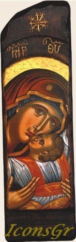 Wooden Greek Christian Orthodox Wood Icon of Mother of Jesus & Jesus Christ /N10