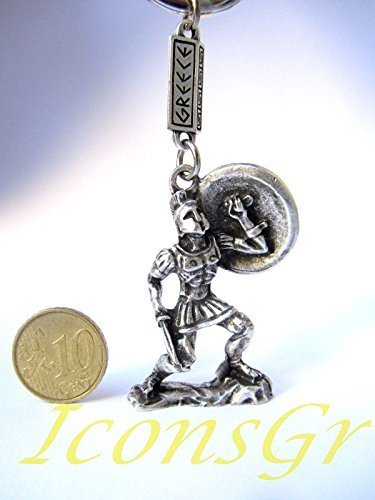 Ancient Greek Zamac Keyring Miniature Statue of Spartan King Leonidas (Silver)