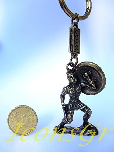 Ancient Greek Zamac Keyring Miniature Statue of Spartan King Leonidas (Gold)