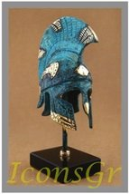 Ancient Greek Bronze Museum Replica of Spartan Hoplite Helmet on a Base (373-1) - $110.45