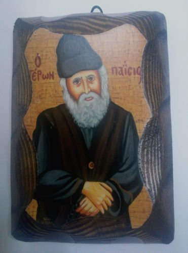 Wooden Greek Orthodox Wood Icon of Saint Elder Paisios Big