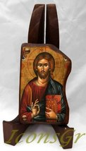 Wooden Greek Christian Orthodox Wood Icon of Jesus Christ / Mp4_1 - $9.70