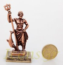 Ancient Greek Zamac Miniature Statue of Poseidon (Copper) [Kitchen] - $12.64