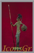 Ancient Greek Bronze Museum Statue Replica of Athena with Spear & Shield... - $36.85