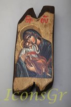 Wooden Greek Christian Orthodox Wood Icon of Virgin Mary / N12 [Kitchen] - $26.56