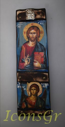 Wooden Greek Christian Orthodox Wood Icon of Archangel Michael & Jesus Christ...