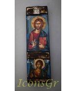 Wooden Greek Christian Orthodox Wood Icon of Archangel Michael & Jesus C... - $81.73