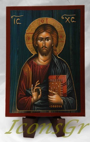 Wooden Greek Christian Orthodox Wood Icon of Jesus Christ / A2_2 [Kitchen]