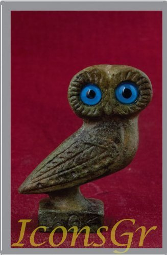 Ancient Greek Bronze Museum Statue Replica of Owl on a Podium (1515) [Kitchen]