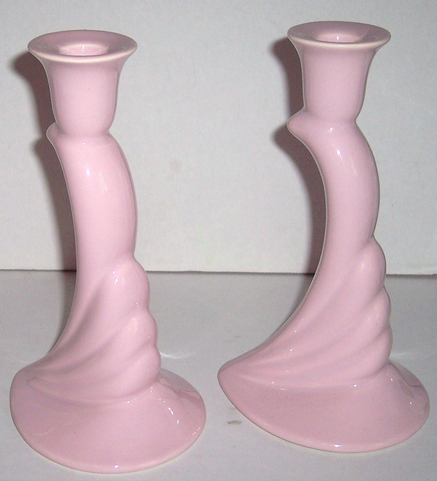 HAEGER CERAMIC ART Original Two Pink Collectible Ceramic Candle Sticks #422