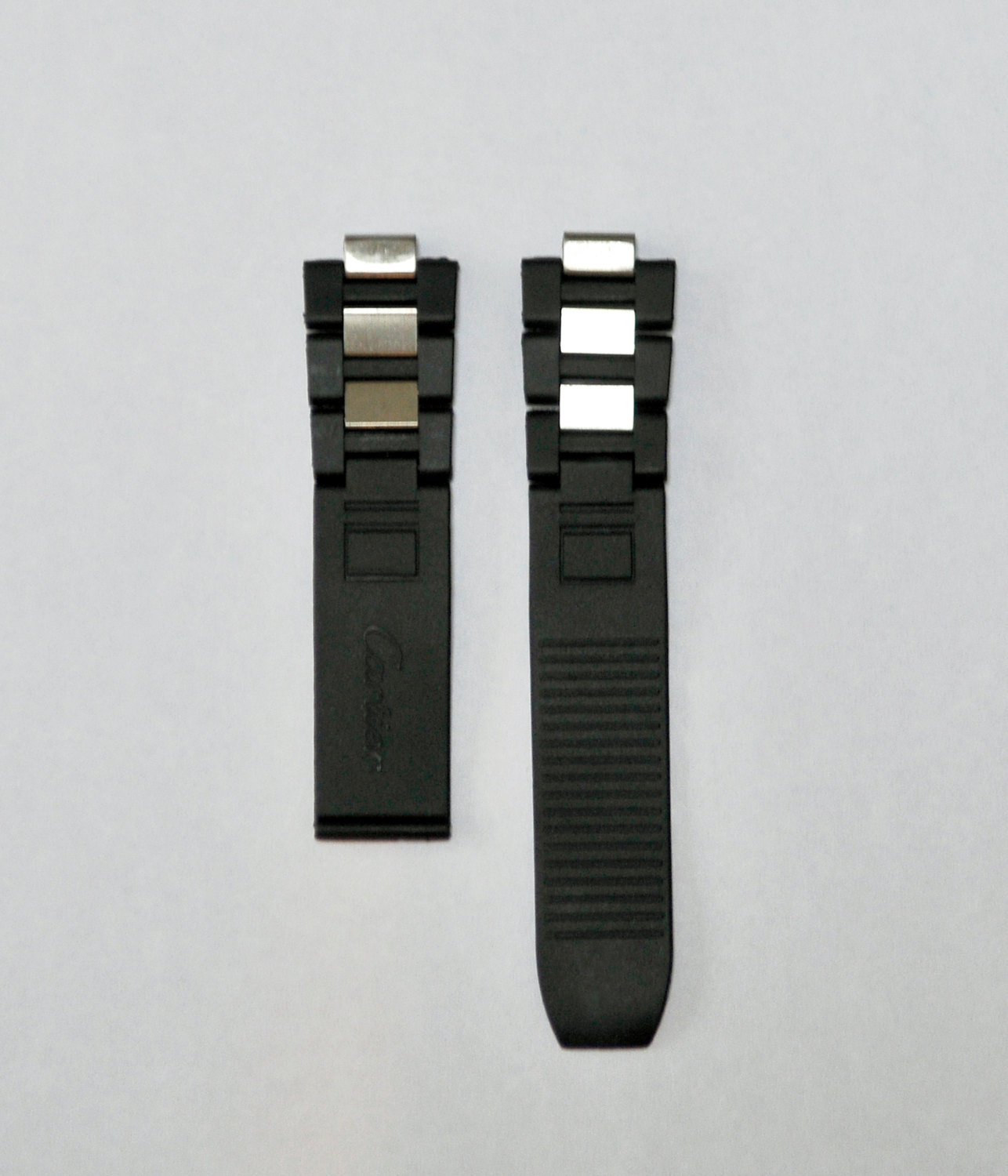 Rubber/Stainless Steel Watch Band Strap fits Cartier Must 21 Chronoscaph & Autos