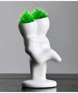 NEW Mini Novel Ceramic Porcelain Bonsai Grass Doll Hair Plant Head Plant... - $5.00